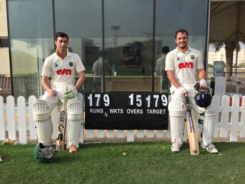 Our opening pair of Jamie Smibert and Jonathan Houghton, who single handedly reached the target