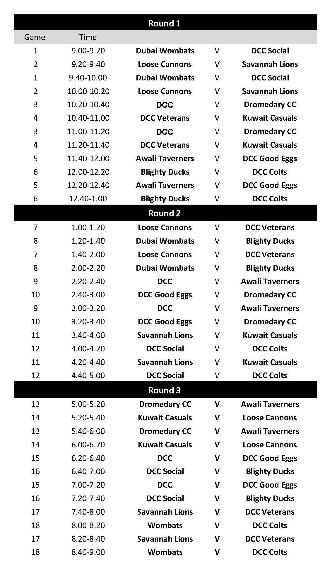 GCC Sixes Schedule - Friday